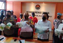 Ditnarkoba Polda Kepri berhasil mengungkap Jaringan Narkoba Internasional, di Pelabuhan Tanjunguma, Lubukbaja,