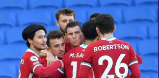 Para pemain Liverpool merayakan gol Diogo Jota (kedua dari kiri) ke gawang Brighton. Laga berakhir imbang 1-1. (Foto: Premieregua.com)