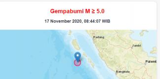 Gempa Bumi 6,3 SR mengguncang Padang Sumatera Barat, pukul 08.47 pagi ini, Selasa (I7/11/2020).