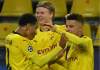 Striker Borussia Dortmund Erling Braut Haaland (tengah) mencetak dua gol dalam kemenangan 3-0 atas Club Brugge du Liga Champions. Kini pemain 20 tahun itu menjadi top skor sementara Liga Champions dengan 6 gol. (Foto dari Uefa.com)