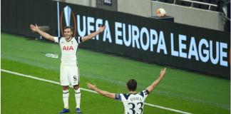 Reaksi Harry Winks (kiri) usai mencetak gol tembakan jarak jauh, sekitar 46 meter dari sisi kiri lapangan. Spurs menang telak 4-0 atas Ludogorets. (Foto: uefa.com)