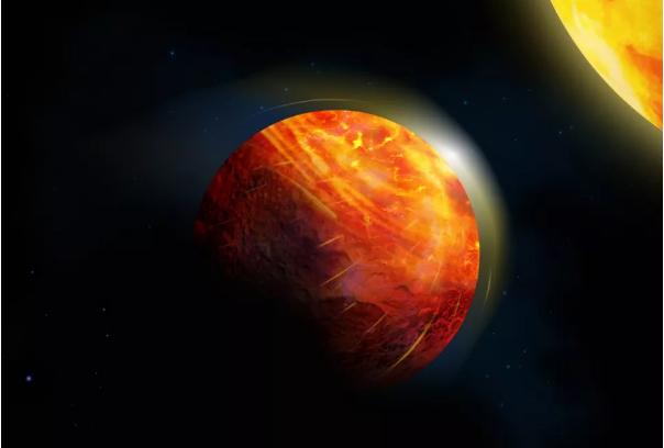 Render seorang seniman menggambarkan planet cair K2-141b. (Julie Roussy / McGill Desain Grafis dan Getty Images via Space.com)