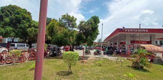 Suasana SPBU Batam Center yang berada di seberang Graha Kepri