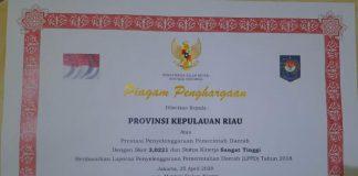 Piagam Penghargaan dari Kementerian Dalam Negeri