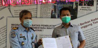 Kantor Imigrasi Kelas I TPI Batam lakukan kerjasama layanan paspor dengan PT. Fanindo Cipta Propertindo di Mall Botania 2 (MB2), Batam Center, Senin (30/11/2020).