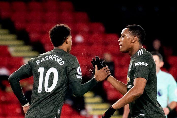 Marcus Rashford dan Anthony Martial saat melawan Sheffield United. (Foto dari MEN Sport)