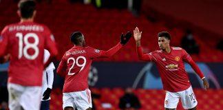 Hasil kerja sama Aaron Wan-Bissaka dan Marcus Rashford membuahkan gol balasan MU pada menit ke-32 untuk menjadikan skor imbang 1-1 vs PSG pada babak pertama (Foto dari Sky Sports)