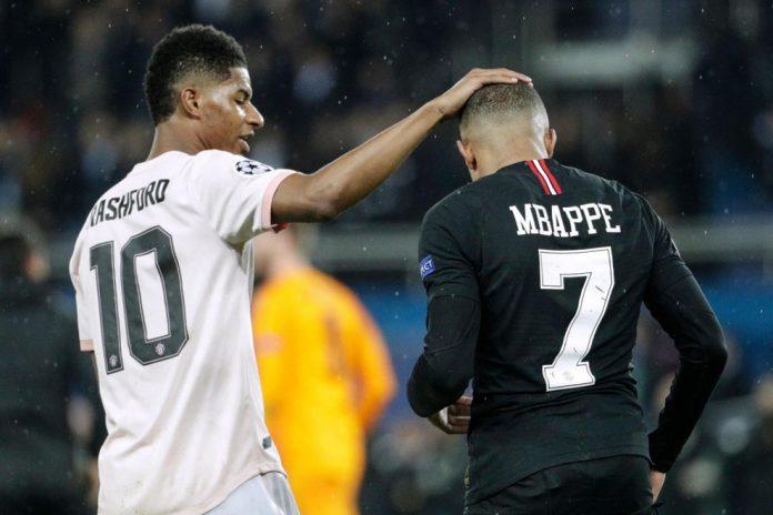 Marcus Rashford dan Kylian Mbappe. (Foto dari Evening Standard)