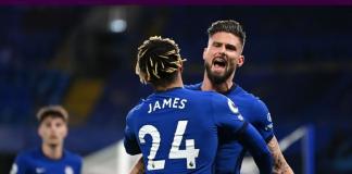 Olivier Giroud bersama Reece James merayakan gol penyama kedudukan menjadi 1-1 saat Chelsea menjamu Leeds United di Stamford Bridge, Minggu (6/12/2020) dinihari WIB. (Foto: Premierleague.com)