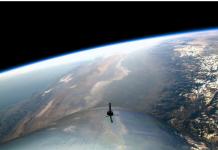 Spaceliner VSS Unity Virgin Galactic menangkap pemandangan Bumi ini selama perjalanan pertama kendaraan ke luar angkasa, pada 13 Desember 2018. (Foto: © Virgin Galactic via Space.com)