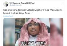 Salah satu postingan Ustaz Maaher At-Thuwailibi di akun twittew-nya. Ustaz Maaher At-Thuwailibi alias Soni Ernata dijemput polisi pada Kamis (3/12/2020) dini hari di kediamannya di Jakarta. Dia juga dilaporkan oleh Nahdatul Ulama karena menghina Kyai NU Habib Luthfi bin Yahya. (Tangkapan layar Twitter)