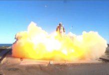 Prototipe Starship SN8 SpaceX diluncurkan pada uji terbang ketinggian tertinggi pertamanya dari Boca Chica, Texas, AS, pada Rabu 9 Desember 2020 malam atau . Kamis pagi waktu Indonesia. (Foto: SpaceX)
