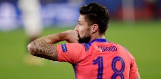 Striker Chelsea Olivier Giroud mencetak quat-trick alias empat gol dalam kemenangan 4-0 atas tuan rumah Sevilla pada penyisihan Grup D Liga Champions 2020/21. (Foto dari Uefa.com)