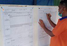 Seorang petugas PPS TPS 02 Kampung Sidorejo, Kelurahan Lubuk Semut, Karimun tengah merekap perolehan suara Pilkada Karimun, Rabu (9/12/2020) sore. Foto Suryakepri.com/YAHYA