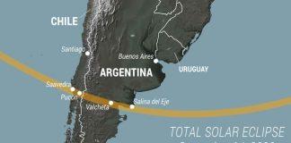 Wilayah yang akan dilalui Gerhana Matahari Total pada 14 Desember 2020. (Gambar dari Space.com)