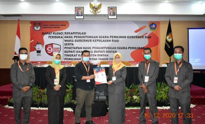 Ketua KPU Bintan Ervina Sari didampingi Komisioner KPU Bintan menyerahkan hasil rapat pleno terbuka kepada LO Paslon Apri-Roby (Suryakepri.com/ist)