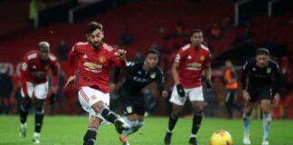 Bruno Fernandes mengambil tendangan penalti saat melawan Aston Villa. (Foto dari daily Star)