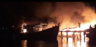 Kebakaran bengkel kapal di Kampung Bugis, Tanjungpinang (Suryakepri.coml/tangkapan layar)