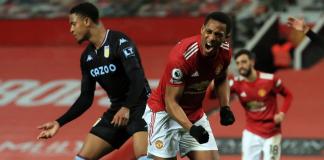 Reaksi Anthony Martial usai membobol gawang Aston Villa untuk membawa MU memimpin 1-0 pada menit ke-40 pada laga Liga Inggris di Stadion Old Trafford, Jumat (1/1/2020) atau Sabtu dinihari WIB. (Foto: Premierleague.com)