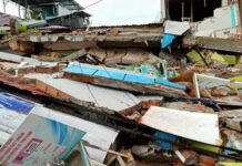 Bangunan ini ambruk sepenuhnya akibat Gempa Bumi 6,2 SR yang berpusat di Majene.