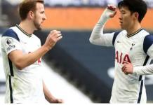 Harry Kane dan Son Heung-min merayakan hasil kerja sama keduanya ketika assist Kane dikonversi menjadi gol oleh Son pada menit ke-43 ke gawang Leeds United pada lanjutan Liga Inggris 2020/21 di Stadion Tottenham Hotspur, Sabtu (2/1/2021). Itu merupakan ke-13 kalinya kerja sama duet ini menghasilkan gol dalam semusim untuk 2020/21. (Foto dari Livescore)