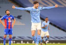 Bek tengah Manchester City merayakan gol yang dicetaknya ke gawang Crystal Palace pada lanjutan Liga Inggris di Etihad, Senin (18/1/2020) dinihari WIB. (Foto: mancity.com)