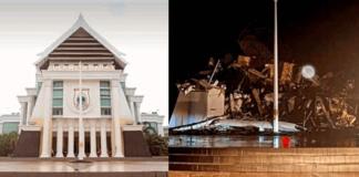 Kantor Gubernur Sulawesi Barat sebelum gempa (kiri) dan setelah ambruk akibat guncangan gempa bumi 6,2 SR yang terjadi pada Jumat (15/1/2021) sekitar pukul 01.28 WIB. (Foto: Kolase Suryakepri.com)