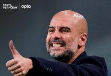 Pep Guardiola. Manchester City telah memenangkan 12 pertandingan terakhir mereka di semua kompetisi, kemenangan terpanjang dalam sejarah klub. (Opta).