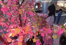 Salah seorang pengunjung yang menempel harapan mereka ri wishing tree grand batam mall