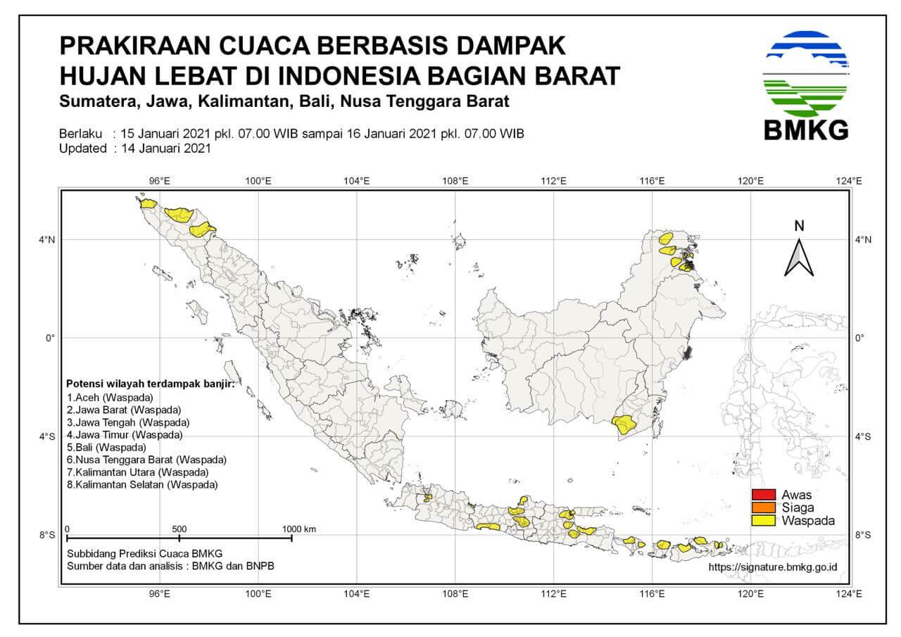 Peringatan dini BMKG untuk Wilayah Indonesia Barat. (Sumber: BMKG)