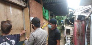 Polsek Batuampar memasang police line di tempat kejadian