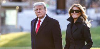 WASHINGTON, DC - 23 DESEMBER 2020: Presiden Donald Trump dan ibu negara Melania Trump berjalan di halaman selatan Gedung Putih pada 23 Desember 2020 di Washington, DC. Trump sedang menuju ke Mar-a-Lago untuk liburan dengan kemungkinan penutupan pemerintah pada Senin 28 Desember 2020. (Foto oleh Tasos Katopodis / Getty Images)