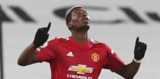 Paul Pogba melakukan selebrasi setelah golnya yang luar biasa membuat Manchester United unggul 2-1 di Craven Cottage, Rabu (20/1/2021). Foto: Premierleague.com