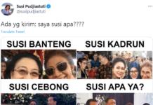 Kicau mantan Menteri Kelautan dan Perikanan Susi Pudjiastuti, Senin (1/2/2021) berisi meme yang merangkum dirinya dituduh macam-macam yang saling bertolak belakang. (Twitter)