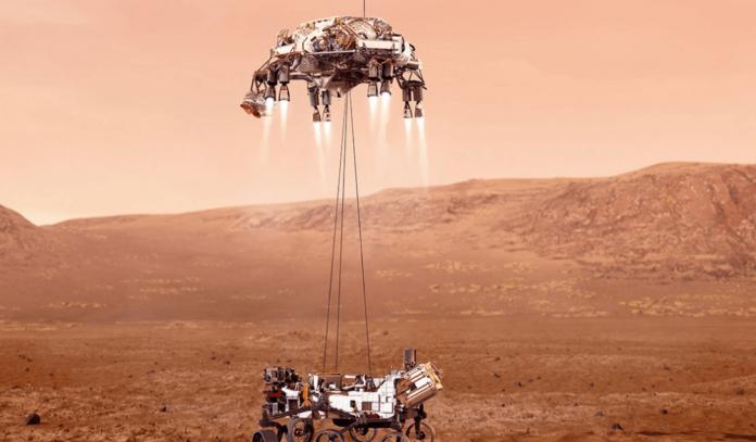 Foto ilustrasi pendaratan Perseverance Rovers di Mars oleh lembaga antarika Amerika Serikat NASA. (Sumber: NASA).