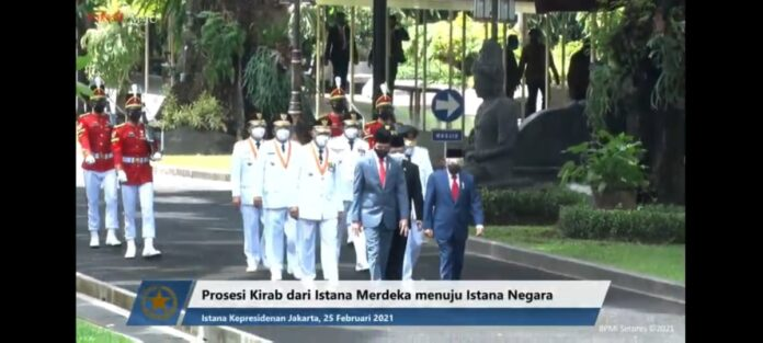 Pelantikan Gubernur dan Wakil Gubernur Kepri di Istana Merdeka, Jakarta, Kamis (25/2/2021).