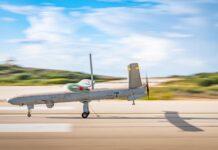 Pesawat tak berawak Heron datang untuk mendarat selama latihan kejutan, 'Galilee Rose,' pada Februari 2021. (Israel Defense Forces)