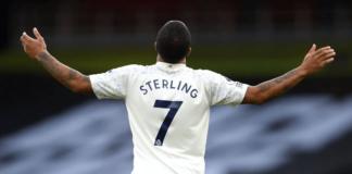 Raheem Sterling mencetak gol pada menit ke-2 melawan Arsenal, yang menjadi satu-satunya gol dalam laga ini untuk memberikan 13 kemenangan beruntun Manchester City di Liga Premier Inggris 2020/21. (Foto: Premierleague.com)