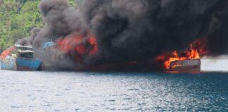 Jaksa eksekusi 10 kapal ikan berbendera Vietnam dengan cara ditenggelamkan di Kabupaten Natuna (Suryakepri.com/Dok Kejati Kepri)
