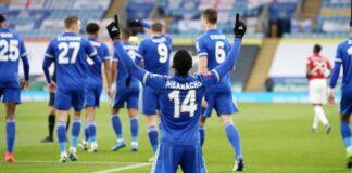 Kelechi Iheanacho merayakan gol ke gawang Manchester United dalam laga perempat final Piala FA. Leicester menang 3-1 untuk lolos ke semifinal bertemu Southampton. (Foto dari FA)