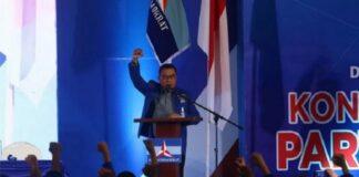 Moeldoko menyampaikan pidato perdana saat Kongres Luar Biasa (KLB) Partai Demokrat di The Hill Hotel Sibolangit, Deli Serdang, Sumatra Utara, Jumat (5/3/2021)/ (kabar24.bisnis.com)