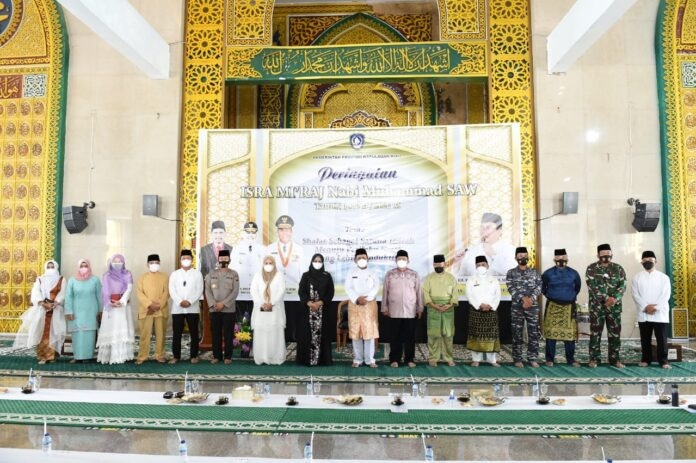 Peringatan Isra' Mi'raj Nabi Muhammad SAW Tahun 1442 H/ 2021 M Tingkat Provinsi Kepulauan Riau di Masjid Raya Nur Ilahi Provinsi Kepulauan Riau, Dompak, Tanjungpinang, Jumat (12/3).