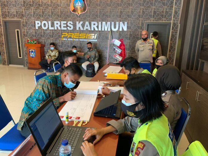 Suasana pendaftaran calon anggota Polri tahun anggaran 2021 di Mapolres Karimun. Rencananya pendaftaran dibuka hingga 1 April 2021. Foto Suryakepri.com/IST