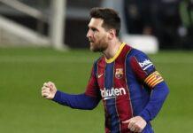 Lionel Messi merayakanrekor penampilan Barcelona dengan dua gol melawan Real Sociedad pada hari Minggu. (Foto dari Sportsmole)