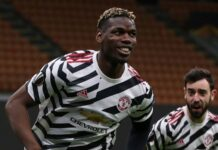 Gelandang Manchester United Paul Pogba mencetak gol tunggal ke gawang AC Milan di San Siro untuk mengantar timnya melaju ke perempat final Liga Eropa 2020/21. (Foto dari Sky Sports)