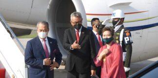 Perdana Menteri Malaysia Muhyiddin Yassin tiba di Jakarta menghadiri KTT ASEAN, Sabtu (24/2/2021). (sumber foto: Biro Pers Sekretariat Presiden).