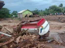 Penampakan kondisi akibat tanah longsor di Flores Timur, NTT pada Senin 5 April 2021 . (Foto BNPB).