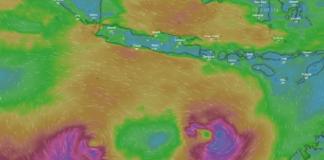 Tangkapan layar posisi Badai Siklon Seroja saat ini berada di Samudra Hindia, menuju Australia. (Sumber: Windy.com)