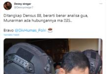 Kicauan Denny Siregar di Twitter terkait penangkapan Munarman, eks Sekum FPI. (Tangkapan layar Twitter)