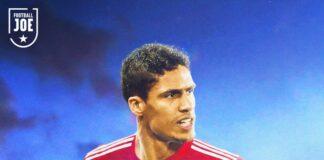 Foto Rapahel Varane diedit dalam balutan seragam Manchester United. (Twitter)